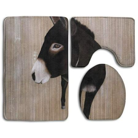 XDDJA Funny Black Donkey 3 Piece Bathroom Rugs Set Bath Rug Contour Mat and Toilet Lid Cover - image 1 de 2