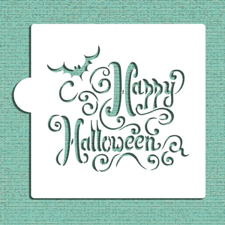 Designer Stencils Happy Halloween Lettering Cookie and Craft Stencil (Happy Halloween Cookie)
