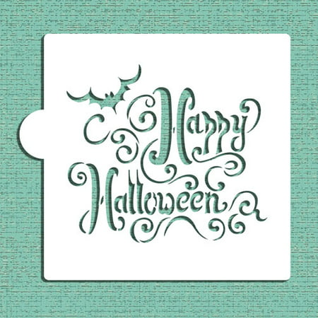 Happy Halloween Stencil (Designer Stencils Happy Halloween Lettering Cookie and Craft Stencil)