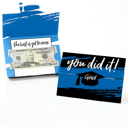Graduation Card Holder Box (Blue Grad - Best is Yet to Come - Royal Blue Graduation Party Money And Gift Card Holders - Set of)