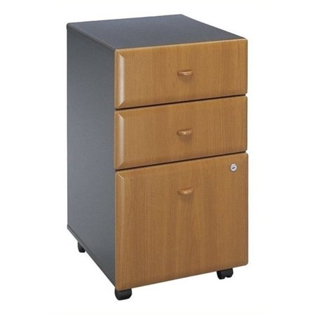 Fluted Cherry Pedestal - Bowery Hill 3 Drawer Mobile Pedestal in Natural Cherry