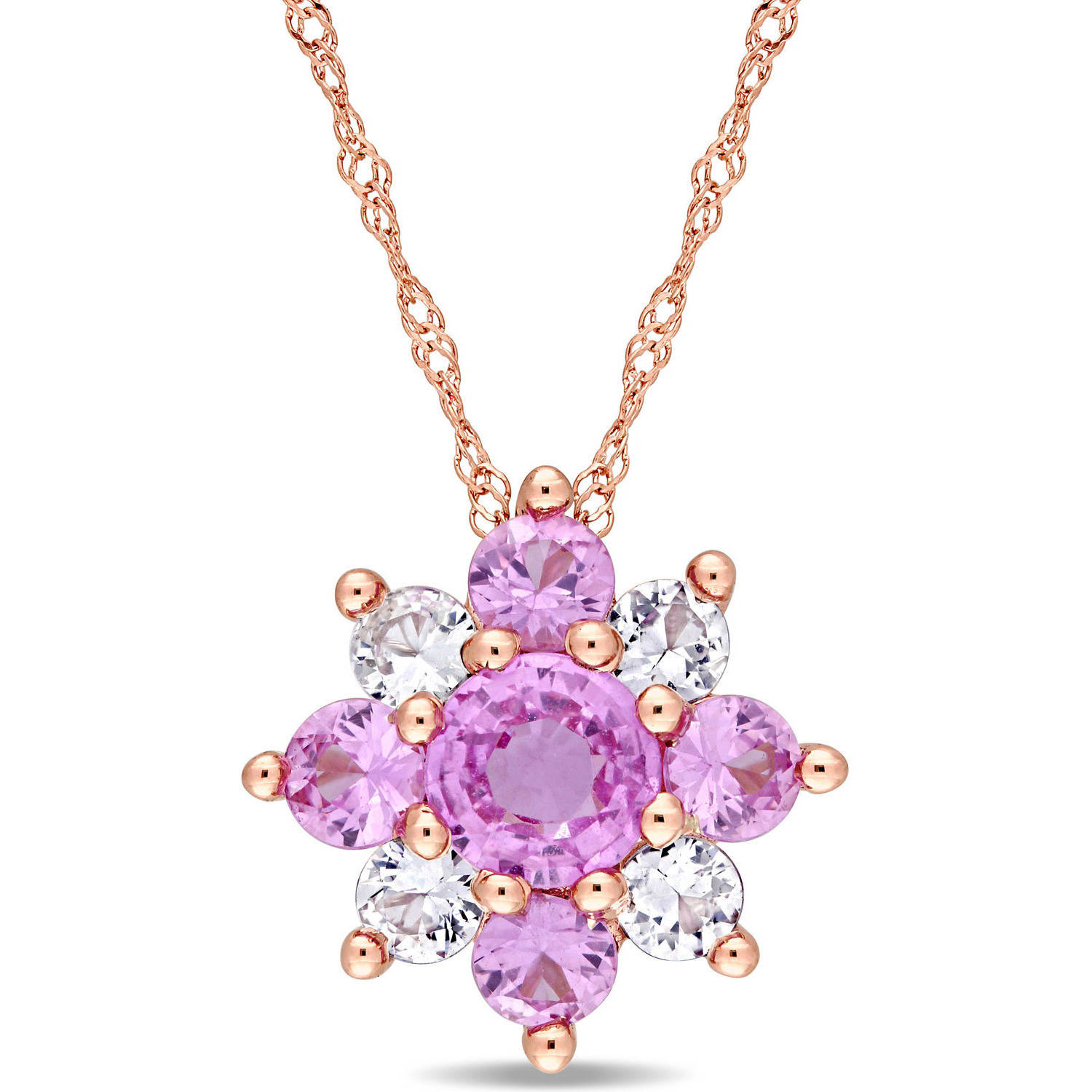 "Tangelo 1-5 8 Carat T.G.W. Pink and White Sapphire 14kt Rose Gold Cluster Star Pendant, 17"" by Tangelo"