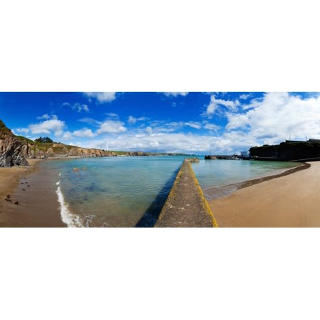 Jetty In The Seashore Boatstrand Harbour Copper Coast Geopark County Waterford Republic Of Ireland Canvas Art   Panoramic Images  29 X 12