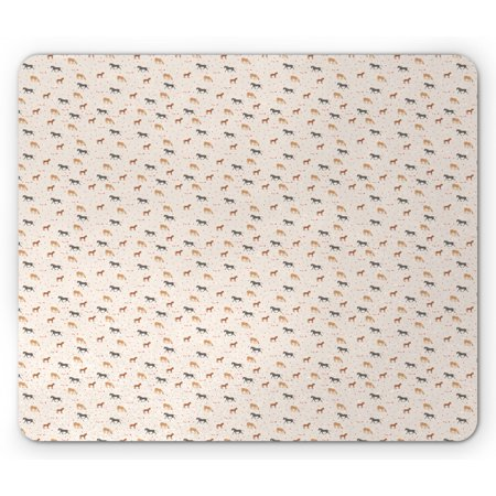 Horse Themed Parties (Country Mouse Pad, Repetitive Farm Themed Party Pattern of Polka Dots Flags and Horse, Rectangle Non-Slip Rubber Mousepad, Champagne and Multicolor, by)