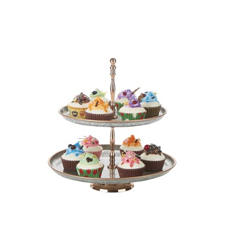 Tree Cupcake Stand (Mind Reader Brass & Iron 2 Tier Pastry Stand, Party Pastry Display, Cupcake Stand Holder, Tree Tower Display Stand, Tiered Serving Dessert Display Tray,)