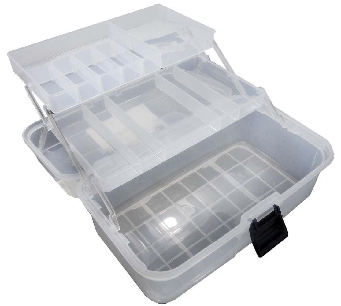 12.5 X 6 X 6 Inch Clear Plastic Storage Box With 2 Tiered Trays