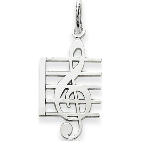 Leslies Fine Jewelry Designer 14k White Gold WG Music Note (12x25mm) Pendant Gift
