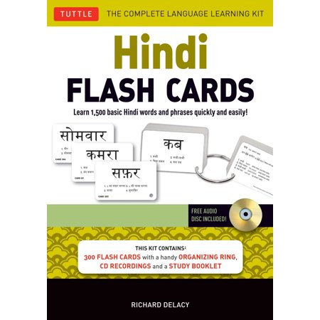Hindi Flash Cards Kit : Learn 1,500 Basic Hindi Words and Phrases Quickly and