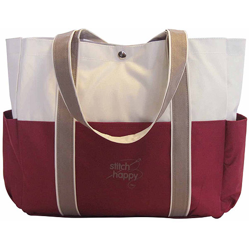 "Stitch Happy Three Pocket Tote 12-1/2""X14""X4""-Burgundy"