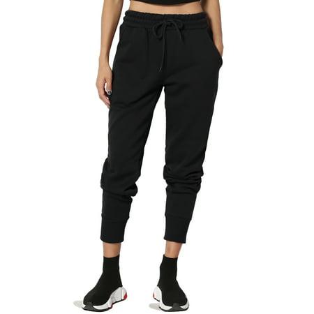 TheMogan Women's Comfy Active Lounge Elastic Waist Pocket Jogger Sweat - Elastic Waist Sweatpants