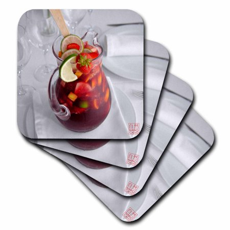 3dRose Jar of cool typical Spanish summer drink, Sangria, made of wine, fruits, brandy or other liquor, Soft Coasters, set of - Rose Sangria
