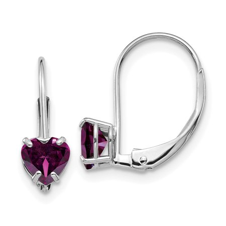 14k White Gold 5mm Heart Rhodolite Red Garnet Leverback Earrings Lever Back Love Drop Dangle Gemstone Prong Gifts For Women For Her