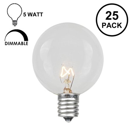 Novelty Lights 25 Pack G40 Outdoor Globe Replacement Bulbs, C7/E12 Candelabra Base, 5 Watt Clear Decorative Globe Bulbs