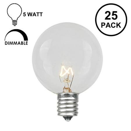 Novelty Lights 25 Pack G40 Outdoor Globe Replacement Bulbs, C7/E12 Candelabra Base, 5 Watt E12 Base Clear Globe Decor