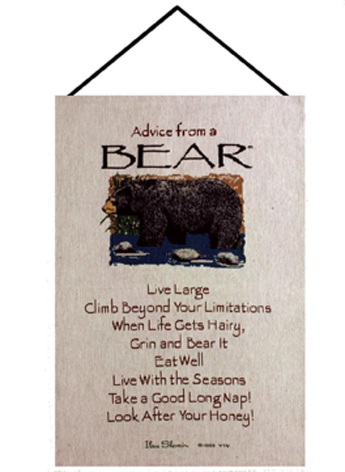 "Brown and Sand ""Advice from a Bear"" Wall Artwork Hanging Tapestry 16"" X 26"" by Manual Weavers"