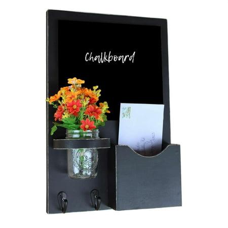 Mail Organizer with Small Chalkboard, Key Hooks & Mason Jar