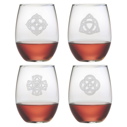 Susquehanna Glass Celtic Knot 4 Piece 21 oz. Stemless Wine Glass Set (Set of 4)