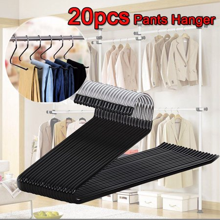 Yosoo 20 Pack Slack Pant Hangers Jean Trousers Hangers, Non Slip Open Ended Clothes Hangers, Easy Slide Organizers for Bedroom Closet Wardrobe, Thicken Chrome and Black Friction