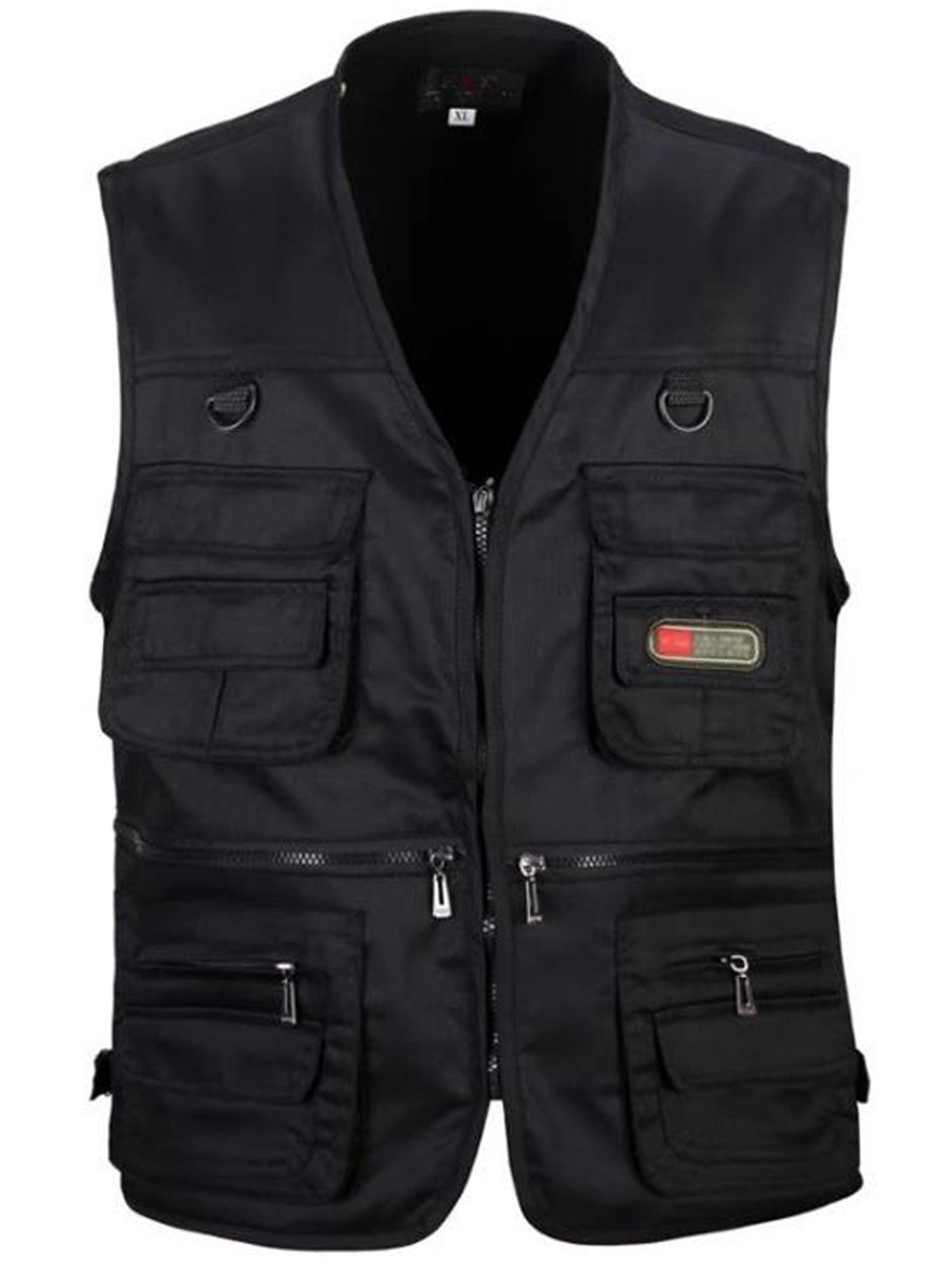 Men/'s Multi-Pocket Fishing Vest Photography Camping Jacket Zipper Waistcoat US
