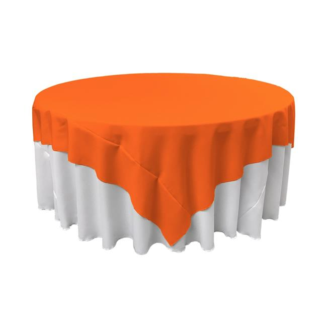 LA Linen TCpop90x90-OrangeP48 Polyester Poplin Square Tablecloth, Orange 90 x 90 in. by