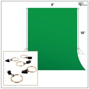 Loadstone Studio Photo Video Photography Studio 6x9ft Green Muslin Backdrop Background Screen with 5x Backdrop Holding Clips, WMLS1419