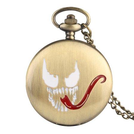 - Venom Style Design Pocket Watch Anti-Tarnish Gold Tone Super BAD Hero Watch, PW-57-V