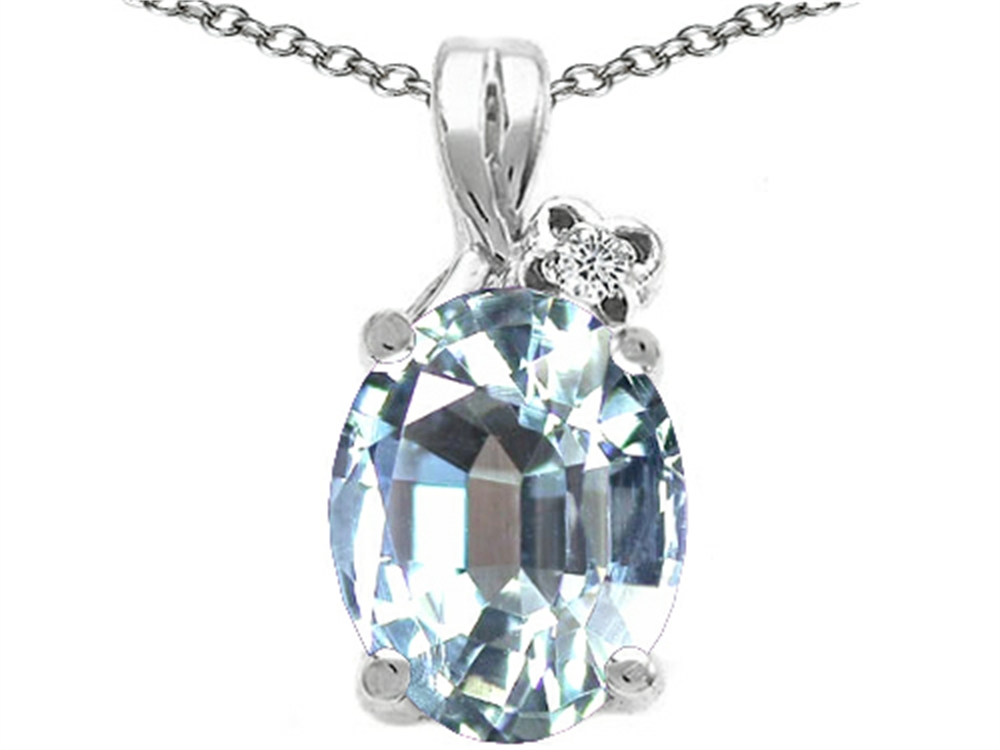 Tommaso Design Oval 10x8mm Genuine Aquamarine Pendant Necklace by
