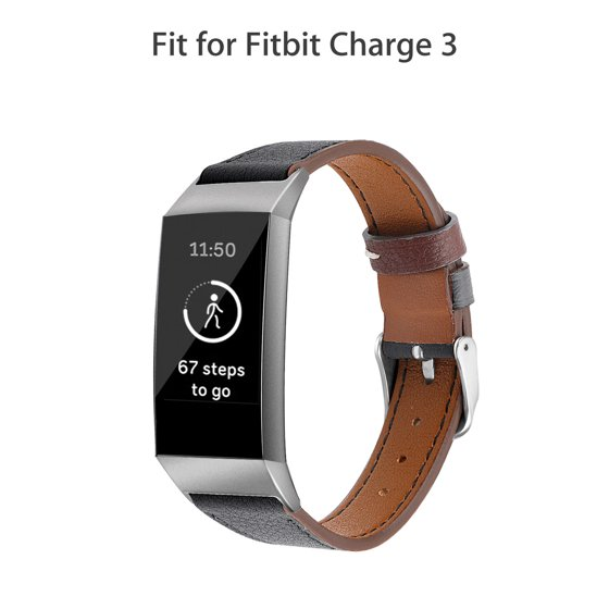 EEEKit Leather Watch Band for Fitbit Charge 3, Soft Replacement Bracelet  Wristband Strap Watch Band for Fitbit Charge 3 & 3SE Men Women