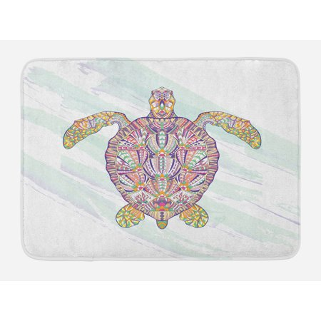 Ethnic Bath Mat, Tribal Motifs on a Shell of a Sea Turtle Colorful Floral Design Underwater Animal, Non-Slip Plush Mat Bathroom Kitchen Laundry Room Decor, 29.5 X 17.5 Inches, Multicolor, Ambesonne