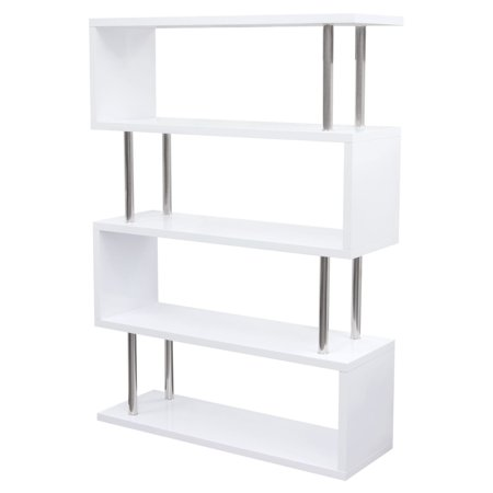 online store d95ac ebe93 Diamond Sofa X2 Large Shelving Unit in White Lacquer with Metal Supports