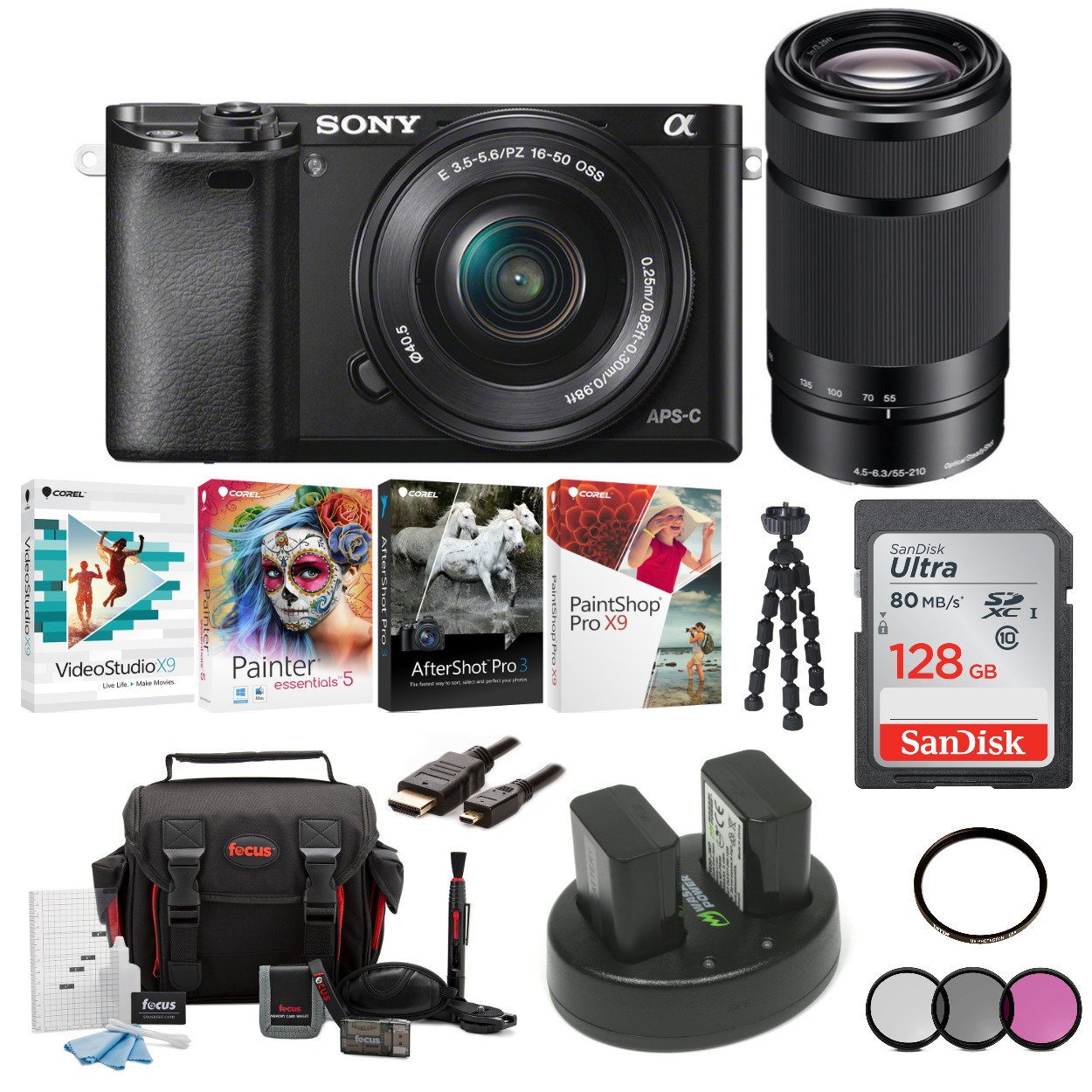Sony Alpha a6000 Mirrorless Camera (Black) w/ 16-50mm and 55-210mm Lenses + 128GB SD Card + Software Kit