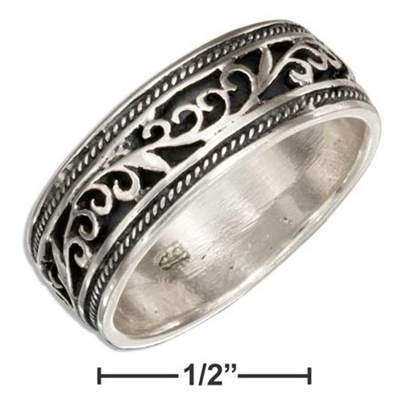 P-019398-09 9 in. Sterling Silver 7 mm Filigree Band Ring with Antiqued Inset - image 1 of 1