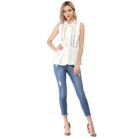 Women's Lace Sleeveless Tops Ruffle Tie Neck Sheer Mesh Peplum Shirt White S - image 2 de 6