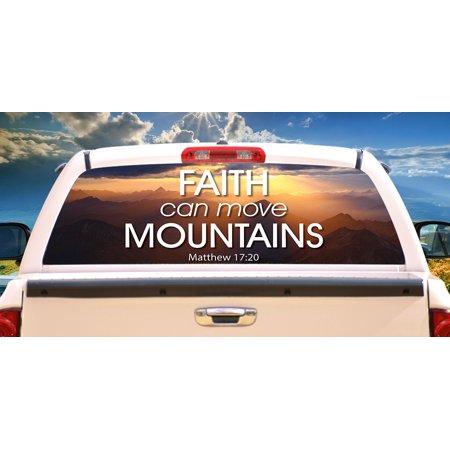 Rear Panel Decal (CROSS Rear Window Graphic back truck decal suv Christian church car )