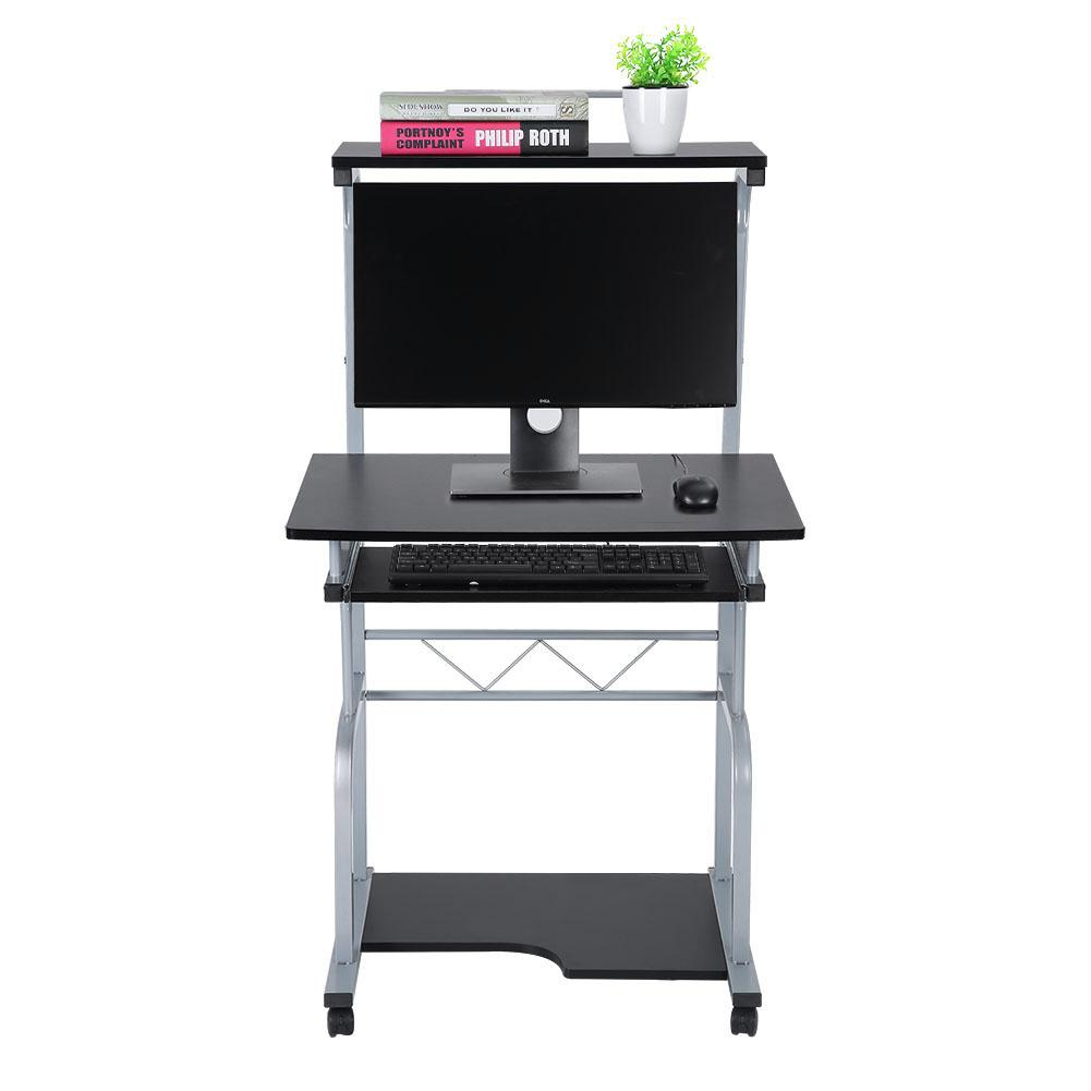 Tbest Portable Wooden Computer Desk Rolling Mobile Stand