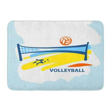 GODPOK Volley Volleyball Team School Club Line Sketch Ball Net Beach Competition Championship Sign Activity Rug Doormat Bath Mat 23.6x15.7 (Championship Net)