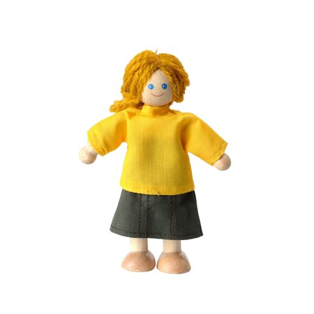 Plan Toys Caucasian Mom Doll  Cheerful Caucasian Mom Doll Is A Great Addition To Your Childs Dollhouse Family And The Perfect Size For Almost    By Plantoys