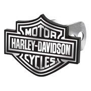 Harley-Davidson Hitch Cover, Black/White Bar & Shield Logo Hitch Plug 2287