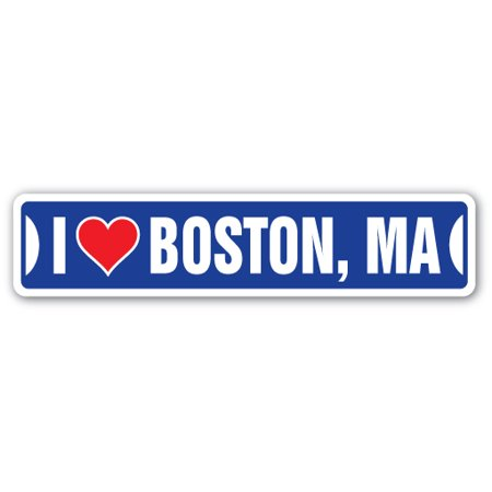 I LOVE BOSTON, MASSACHUSETTS Street Sign ma city state us wall road décor