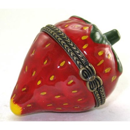 Strawberry Berry Patch Hinged Trinket Box Porcelain (Hinged Trinket Boxes)