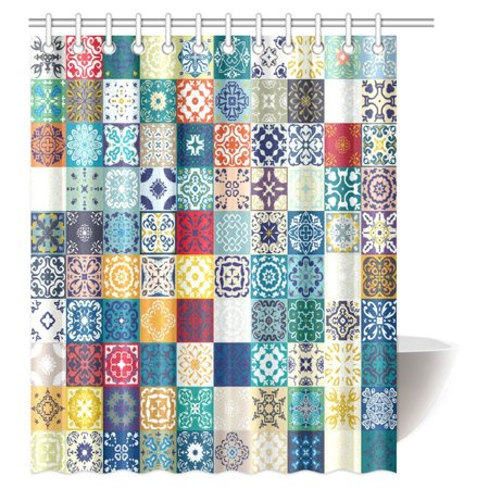 MYPOP Moroccan Decor Shower Curtain, Colorful Floral Patchwork Tile Mosaic Mediterranean Square Design Fabric Bathroom Shower Curtain with Hooks, 60 X 72