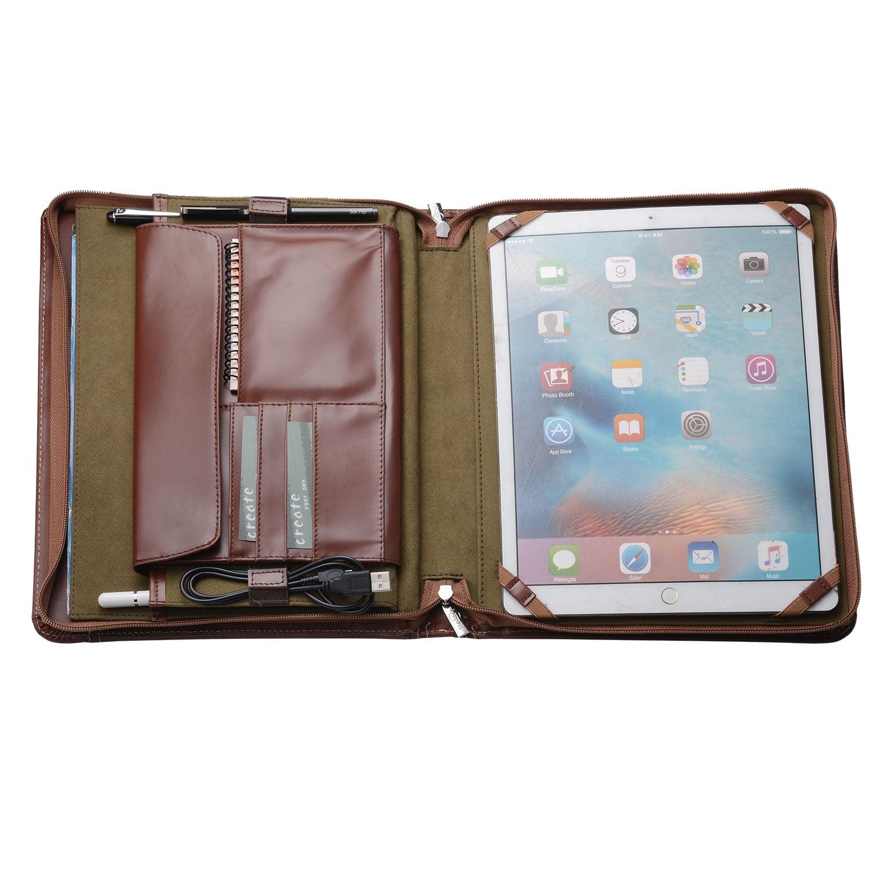 Leather Business Portfolio Professional Organizer A4 Document Folder Notepad Padfolio Case for iPad Pro/Surface Pro