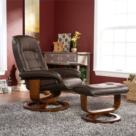 Pemberly Row Leather Recliner Chair And Ottoman In Brown