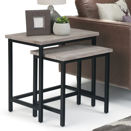 Birch Dining Room Side Table - WyndenHall  Rhonda 2-piece Nesting Side Table in Dark Cognac Brown