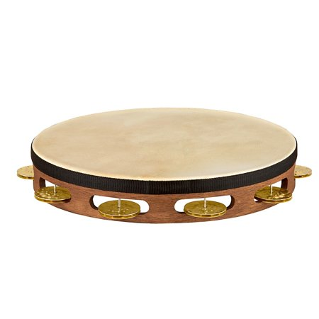 Meinl Vintage Goat-Skin Wood Tambourine One RowBrass Jingles Walnut Brown 10 in.