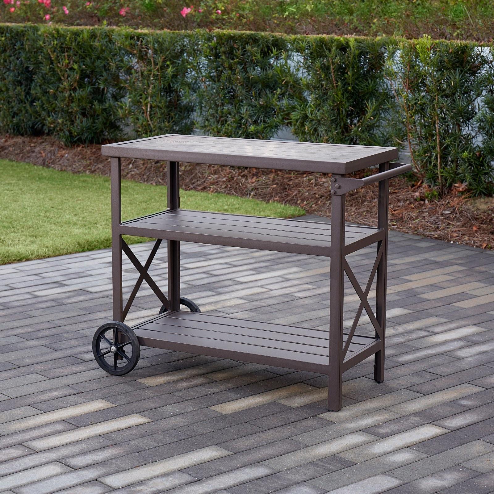 Cosco Outdoor Living Farmstead Aluminum 3 Shelf Serving Cart