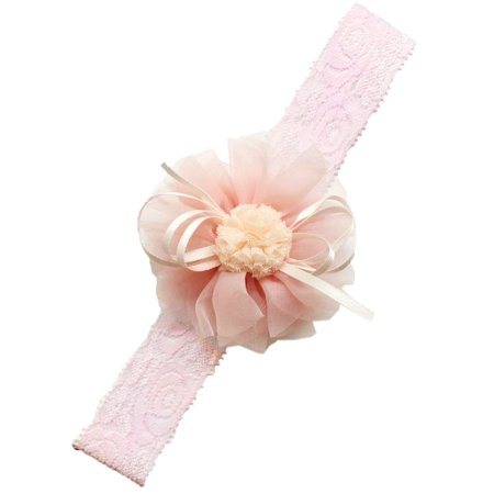 Baby Princess Little Girls Chiffon Flower Hair Accessories Lace Headband (2-Pack, -