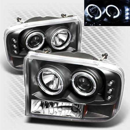 1999-2004 F250 / F350 / F450 / F550 Black Housing Twin Halo LED Projector Headlights Pair L+R  2000 2001 2002 2003 Black Housing Projector Headlights