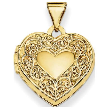 14k Scroll Heart Locket - image 4 of 4