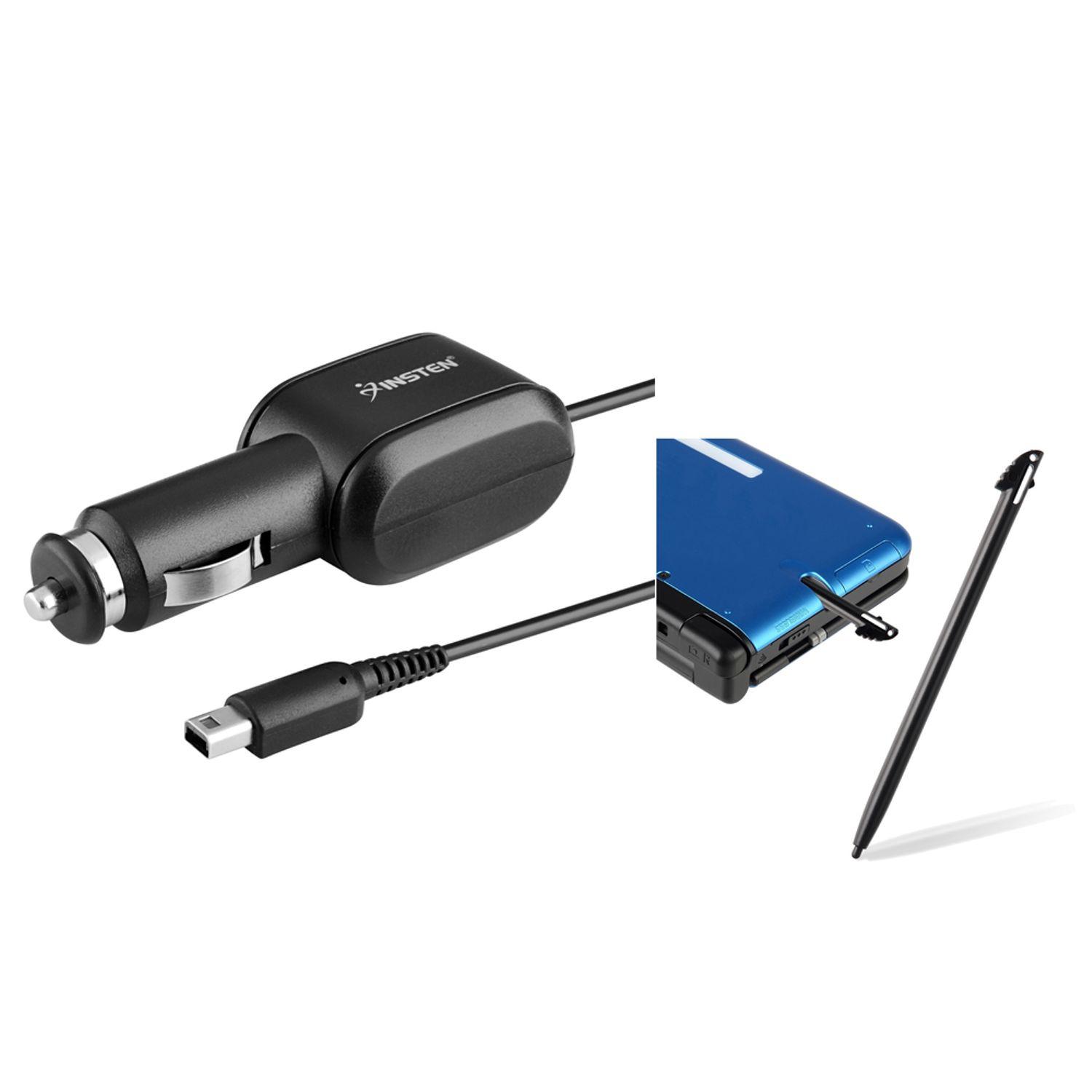 Insten Car Charger + Touch Stylus For Nintendo 3DS XL, Black